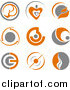 Clipart of Gray and Orange Logos by Vector Tradition SM