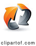 Logo of a 3d Pre-Made Logo of Two Rotating Circling Orange Arrows by Beboy