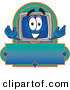 Logo of a Desktop Computer Mascot Cartoon Character on a Rectangular Blue Blank LabelDesktop Computer Mascot Cartoon Character on a Rectangular Blue Blank Label by Toons4Biz