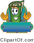 Logo of a Green Carpet Mascot Cartoon Character with a Blank Blue Label by Toons4Biz