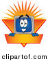Logo of a Grinning Desktop Computer Mascot Cartoon Character Logo Showing the Monitor Smiling over an Orange and Yellow Banner Against a Sunburst by Toons4Biz