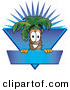 Logo of a Grinning Palm Tree Mascot Cartoon Character over a Blank Blue Business Label with a Burst by Toons4Biz