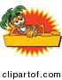 Logo of a Happy and Smiling Palm Tree Mascot Cartoon Character over a Blank Yellow Business Label with an Orange Burst by Toons4Biz