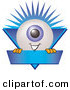 Logo of a Happy Eyeball Mascot Cartoon Character on a Blue Business Label by Toons4Biz