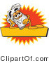 Logo of a Reclining Happy Chefs Hat Mascot Cartoon Character Resting over a Blank Yellow Label by Toons4Biz