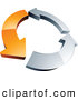 Logo of a Simple Circle of One Orange Arrow and Two Chrome Arrow by Beboy