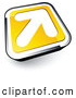 Logo of a Simple White Arrow on a Yellow and Chrome Button by Beboy