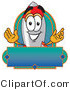 Logo of a Smiling Rocket Mascot Cartoon Character with a Blank Blue Label by Toons4Biz