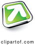 Logo of a White Arrow on a 3d Green and Chrome Button by Beboy