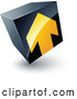 Logo of a Yellow Arrow Pointing up on a Tilted Black Cube, Above Space for a Business Name and Company Slogan by Beboy