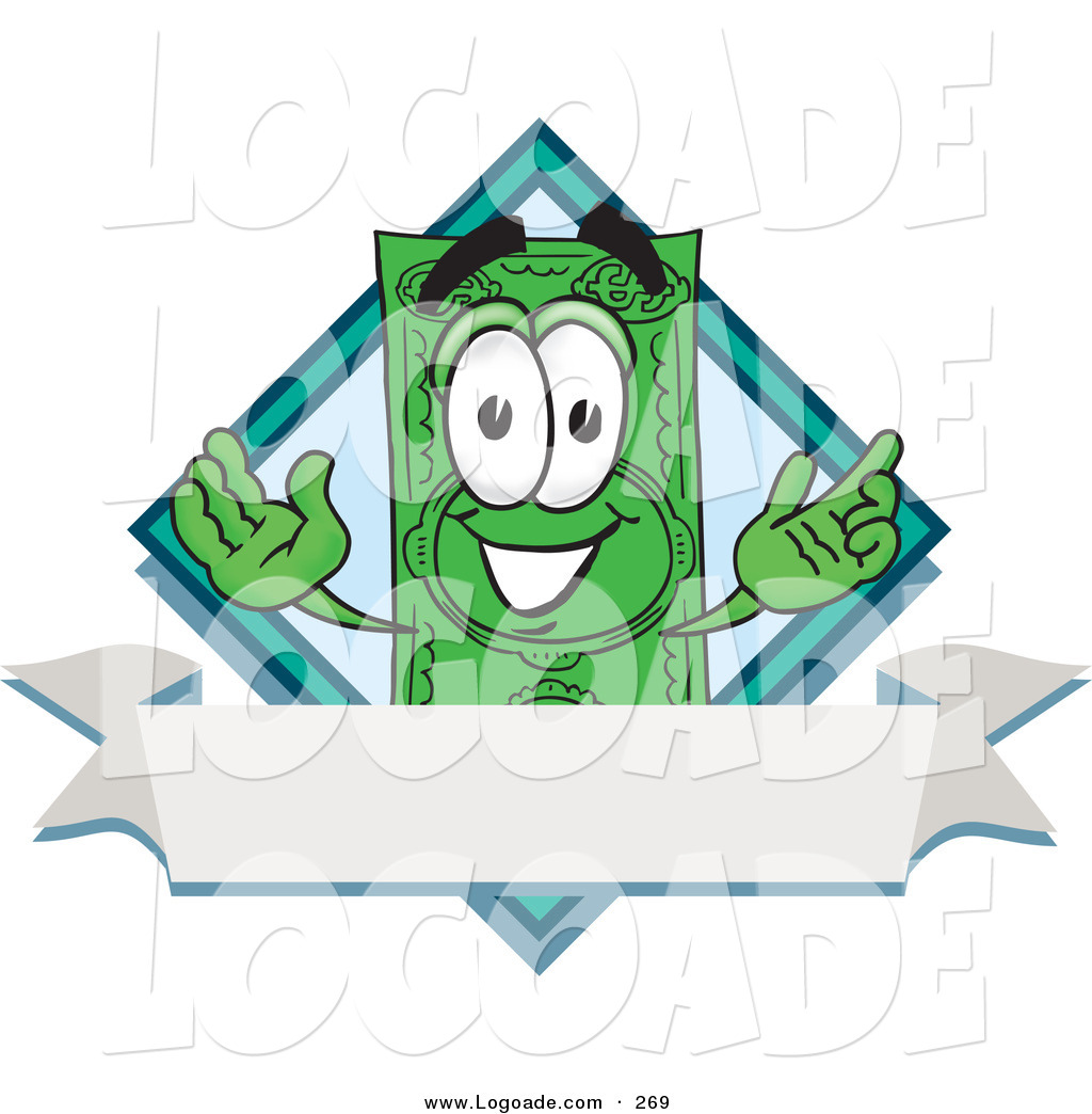 Logo Of A Happy Green Dollar Bill Mascot Cartoon Character